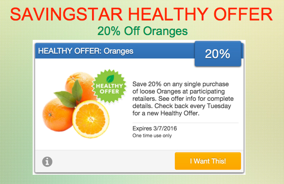 Savingstar Healthy Offer of the Week Oranges